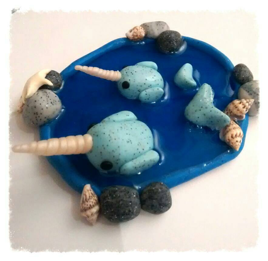 Ooak miniature hand made Polymer clay narwhal miniature scene mother and baby calf polymer clay in resin animal figure unicorn of the sea