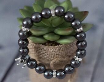 Hematite bracelet, Bracelet Hematite, gemstone bracelet,  non-magnetic hematite Stone Bracelet with Charm Crown for Men or Women