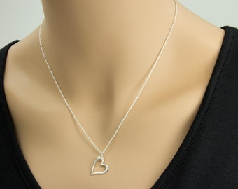 Silver Open Heart Necklace, Sterling Silver Heart Jewelry, Friendship Necklace Gift, Sweetheart Necklace