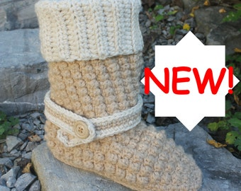 Crochet Boot Pattern-------ALLOVER BOBBLE BOOTS----womens sizes 5-10----add optional rubber sole with instructions