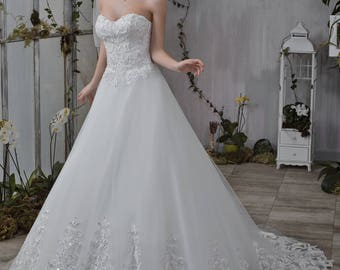 Wedding dress wedding dress bridal gown BRIDGETTE princess dress pompous Pailettenstickerei