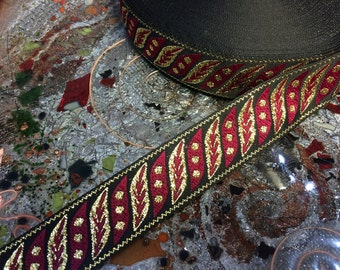 "Metallic Gold & Red on Black - Embroidered Jacquard Ribbon - 1.1"" Wide, Imported"