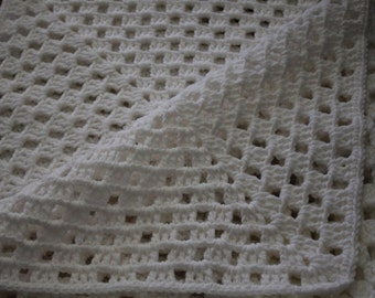 White Crochet Blanket Cover Lap  Blanket
