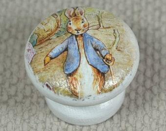 Peter Rabbit Knobs, for Drawer or Dresser, Beech Wood, 3.5cm Diameter