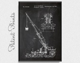 Firemens Ladder 1877 Patent Print, Car Prints, Firefighter Prints, Firefighter Posters, Firefighter Blueprints, Firefighter Art, Firefighter