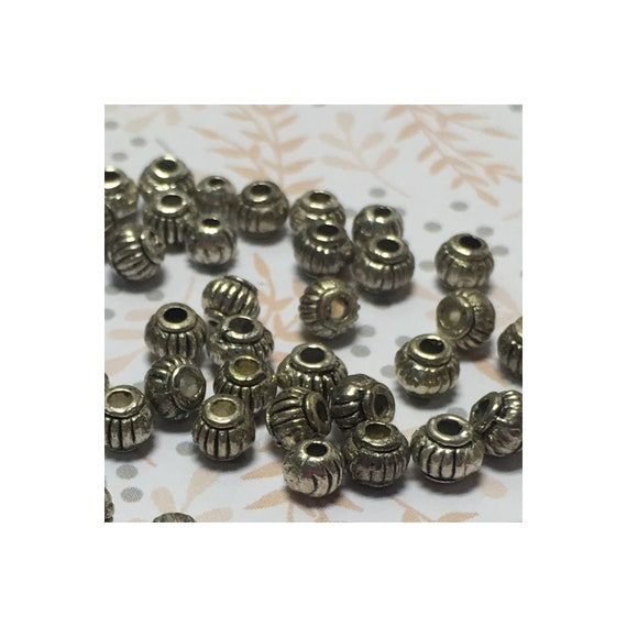 Antique Silver Lantern Beads 5 x 4 mm, 25 Beads
