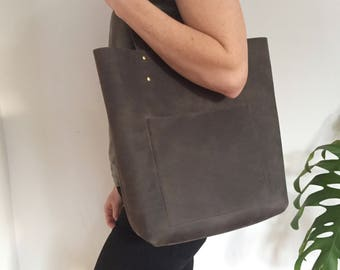 Gray Leather Tote // Sturdy Leather Bag // Oil Tanned Leather Bag