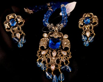 Jewelry Set ,Blue Victorian Pendant Necklace & Earrings, .925 Sterling Silver Gold Vermeil by Taneesi Jewelry
