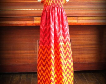 SALE Red Ombre Chevron Smocked Maxi Dress by Steady As She Goes scarlet orange tangerine yellow zig zag stripe halter sundress girl 6 7 8 10