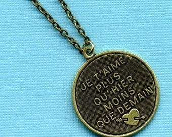 I Love You More Than Yesterday Brass Necklace