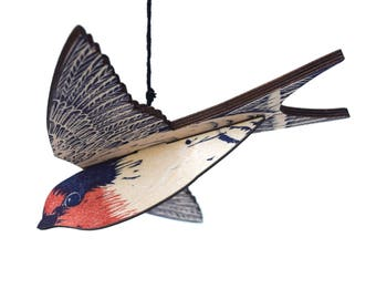 Welcome Swallow Mobile, Hand Printed Wooden Lino Printed Hanging Bird, Australian Native Bird,