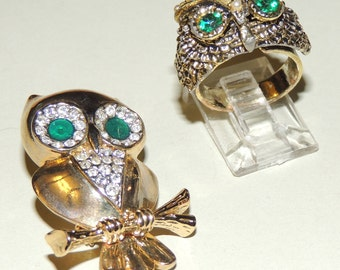 Vtg Green Eyed Owls Brooch and Ring Set