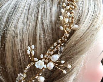 Bridal hair vine, wedding hair vine, Crystal vine, bridal hair vine crystal gold, gold wedding accessories 1