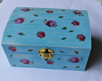 Blue Hand-painted and Decoupaged Wooden Box with Roses