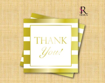 """Favor Tags, Gold Favor Tags, Thank You/Favor Tags - Gold and White, 3x3"""""""