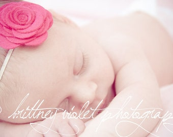 Pink Felt Flower Headband for Baby to adult, Shocking Pink newborn headband, Toddler headband, Newborn Photo prop