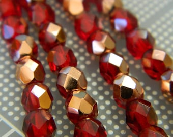 6MM Czech Fire Polished Round Faceted Beads - Two Tone Red & Gold Fire Polish Beads - Czech Glass Beads - 19 Beads Per Bead Strand CB78