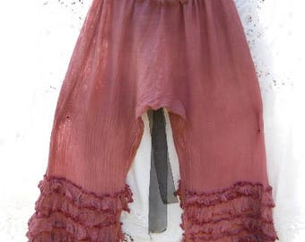 Raspberry Pink  Linen size plus regular pants trousers bloomers pantaloons lagenlook quirky funky boho festival RitaNoTiara Southern Gothic