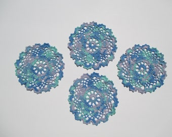"Doily Coasters (4) - Ocean Variegated - 5 1/2"" Diameter - Small Doilies"