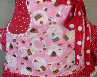 Womens Aprons - Pink Cherry Aprons - Cupcake and Cherries Aprons - Pink Cupcake Aprons - Annies Attic Aprons - Aprons with Cherry Fabrics