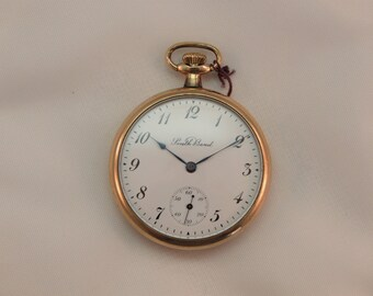 1927 South Bend Pocket Watch, Studebaker 21 Jewel, Adjusted Movement, Original 20 Year Gold Panama Case, Pendant Set, Size 12, Serviced!