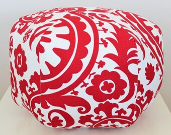 Small Pouf, Suzani Fabric, Red, Pink, Yellow, Coral, foot stool, floral pillow, soft ottoman, floor cushion, Dorm decor, College Furniture