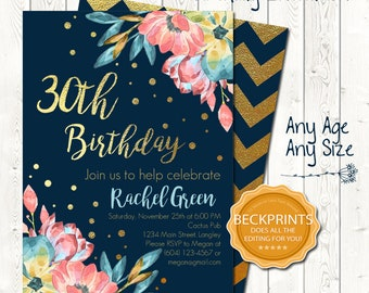 Floral Invitation, Floral Birthday Invitation, 30th Birthday Invitations, Digital Birthday Invitations, Gold Birthday Invites, You Print