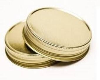 12 pcs Gold Mason Jar Lid for Regular Mouth Mason Jars- BPA Free, Plastisol Lined