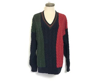 Vintage 90's Sweater 80's Sweater Large Slouchy Oversized Sweater Striped Cable Knit Sweater V Neck Boyfriend Sweater Green Red Blue O