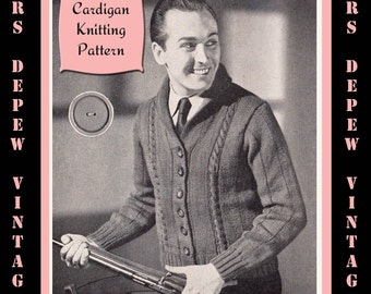 Menswear Vintage 1940's Men's Cardigan Knitting Pattern Reproduction #4453 - INSTANT DOWNLOAD