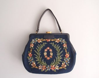 1950s Navy Blue embroidered bag floral needlepoint purse frame handbag with leather trim and rose coral lavendar blue & yellow flowers