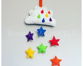 baby shower gift rainbow stars rain cloud baby room nursery decor mobile