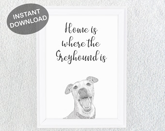 Greyhound Gift - Sighthound Gift - Greyhound Art - Greyhound - Dog Breed Illustration - Greyhound Wall Print - Dog Lover Printable Art