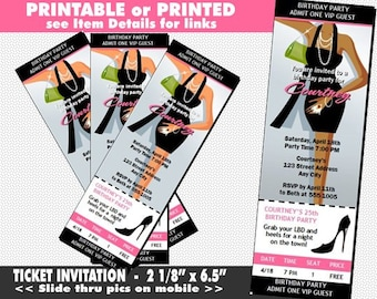 Little Black Dress Ticket Invitation, Printable, Light or Dark Skin, LBD Party Invite, Girls Night Out, Bachelorette