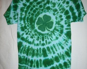 Handmade Shamrock/4 Leaf Clover Tie Dye Shirt