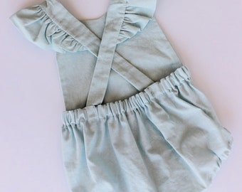 Linen Blend Baby Romper  Linen Toddler Romper Vintage Baby Romper First Birthday Outfit  Newborn Photography Outfit  Linen Romper