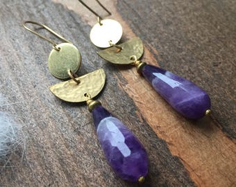 Dogtooth Amethyst and Brass Half Moon Earrings