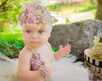 Baby Girls Extra Large Over the Top Fancy Headband Pearl Bracelet Set Cream Dusty Rose Pink Rosettes Feathers Glass Beads Strands Ivory Lace