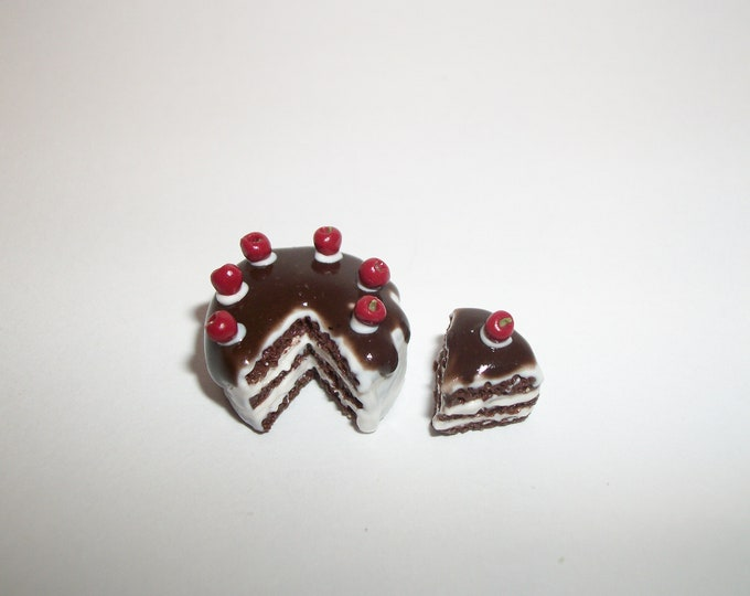Featured listing image: 1:12 One Inch Scale Dollhouse Miniature Handcrafted Chocolate Drizzle Layer Cherry Dessert Cake Doll Food