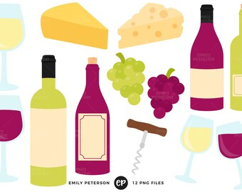 50% OFF SALE! Wine Clip Art, Cheese Clipart, Grapes Clip Art - Commercial Use, Instant Download