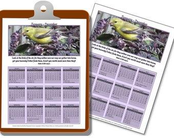 2018 2019 calendars,  Bible verse planner, I page, 2 year calendar, Printable Scripture Matthew 6:26, Home decor, Bird Finch, Annual, NKJV