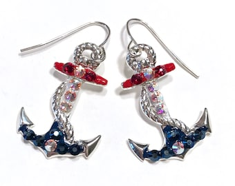 Anchor Earrings - Anchor Jewelry - Nautical Earrings - Nautical Jewelry - Swarovski Crystals - Red White and Blue
