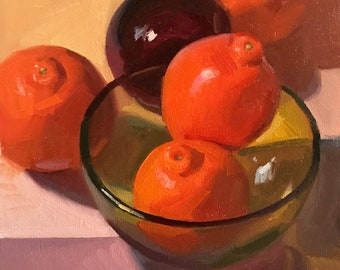 """Art painting fruit orange still life by Sarah Sedwick """"Room For Two"""" 8x8 oil on canvas"""