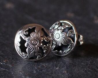Silver Stud Earrings, Silver Drop Earrings, Flower Earrings, Filigree Earrings, Sterling Silver, Handmade