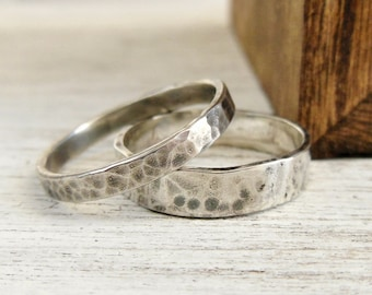 Wedding Band Set - Sterling Silver Ring Set - Hammered Wedding Band for Him and Her
