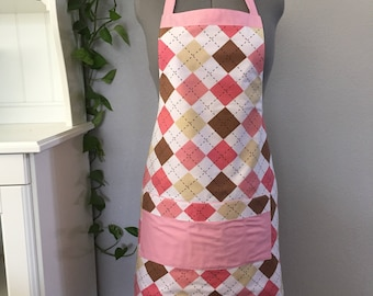 Pink Argyle Apron/plaid apron/pink and brown
