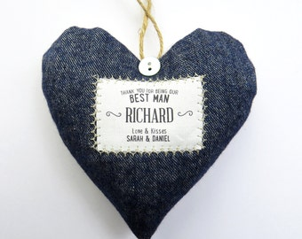Best Man / Groomsmen Gift - Personalised Heart Produced in Your Choice of Fabric - Supplied Gift Boxed. Lovely Wedding Party Thank You Gift