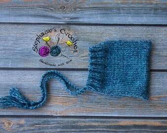 Knit boy/girl bonnet, photography prop, bonnet, infant boy/girl bonnet, photo prop, Knitted baby bonnet, knit bonnet-Made to order