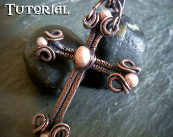 TUTORIAL - Scrolls and Coils Cross - Wire Wrapped Tutorial - Jewelry Pattern - Wire Wrapping - Wire Wrapped Pandant Lesson - Cross Pendant