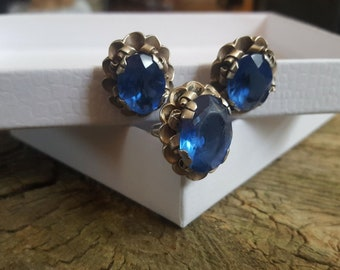 Mexican Silver Gonzolo Moreno Ring and Screw Back Earrings with Bright Blue Rhinestones, 925 Silver Ring and Earring Set